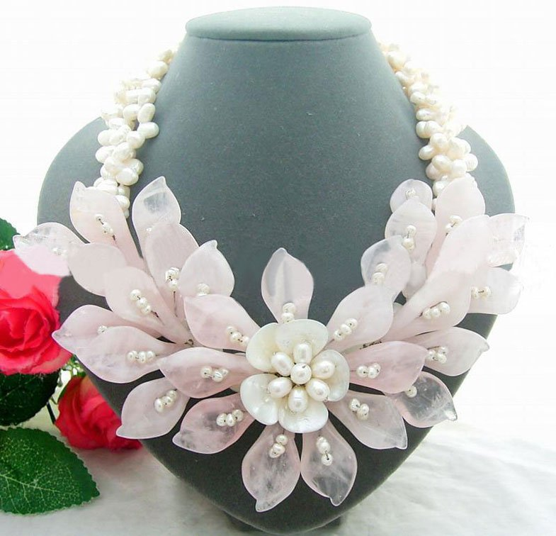 3Strds White Pearl&Rose Crystal Flower Necklace alloy rose flower pendant necklace