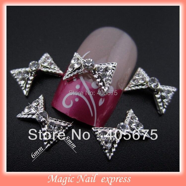 ღ Ƹ̵̡Ӝ̵̨̄Ʒ ღ3D alloy silver bows clear rhinestones nail decoration ...