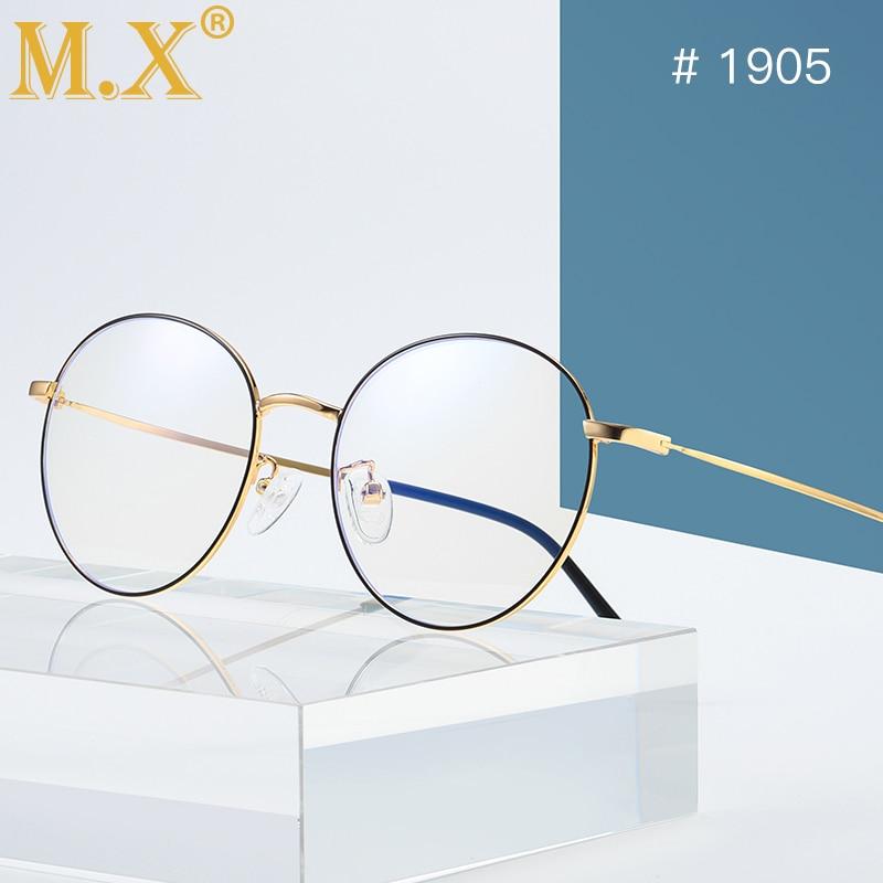 MX Fashion Blue Light Glasses Retro Metal Frame Anti Blue Ray Computer Glasses Vintage Designer Round Glasses Frame Eyewear