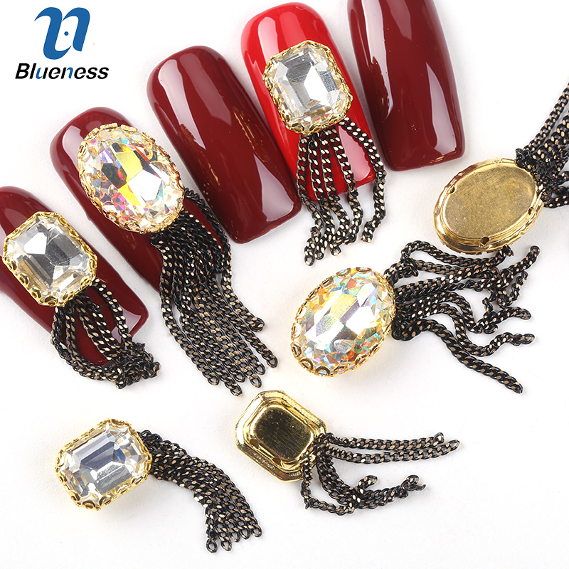 Blueness 10Pcs/lot Oval Pendant Rhinestones Glitter Design Nails Manicure Gold Alloy 3D Nail Art Decorations Jewelry Studs 3d charms glitter nail art decorations mix irregular beads rhinestones alloy studs design manicure nail gel laser paillettes