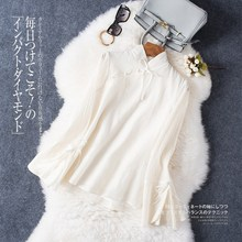 China style cotton silk petal sleeve shirt mandarin collar Summer Tops For womens long sleeve blouses and tops 3789