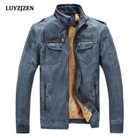 2017 Leather Jacket Men Autumn Winter Casual Mens Jackets Solid Outdoors Clothing Fashion Gentlemen PU Motorcycle