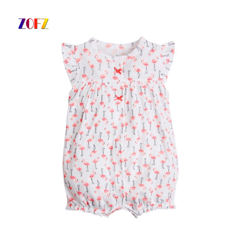ZOFZ Cute Baby Clothing for newborn O-Neck Polka Dot Kawayi Pink Rompers Short Summer Fashion Set Lovely Baby Girls Clothes baby rompers o neck 100