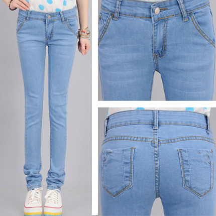 2017 Slim Sky Blue Women Jeans Light Color Pencil Pants Free Shipping