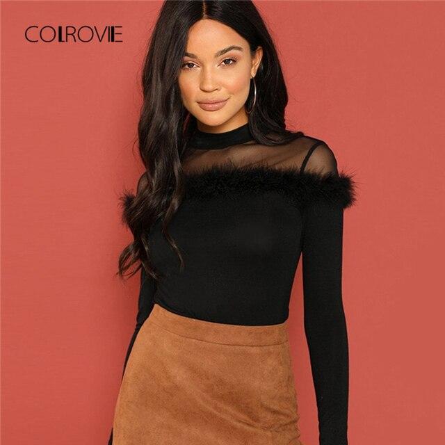COLROVIE Black Mesh Sheer Yoke Faux Fur Korean Winter T-Shirt Women Clothes Long Sleeve Shirt Vintage Sweet Ladies Tops Tee