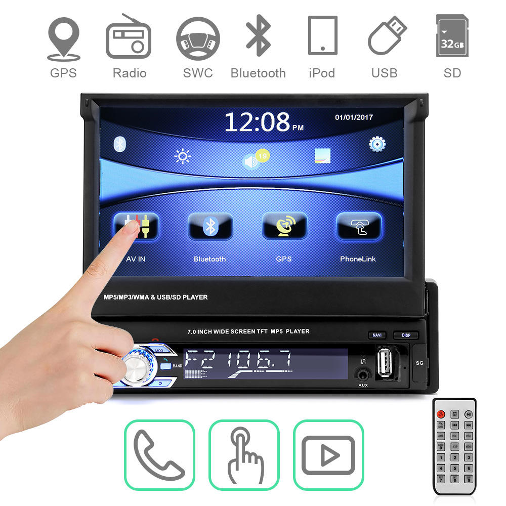 Car Radio Autoradio GPS Bluetooth Car Stereo 1 din 7HD Touch Screen Handsfree DVD FM USB SD MP5 Support Rear View Camera