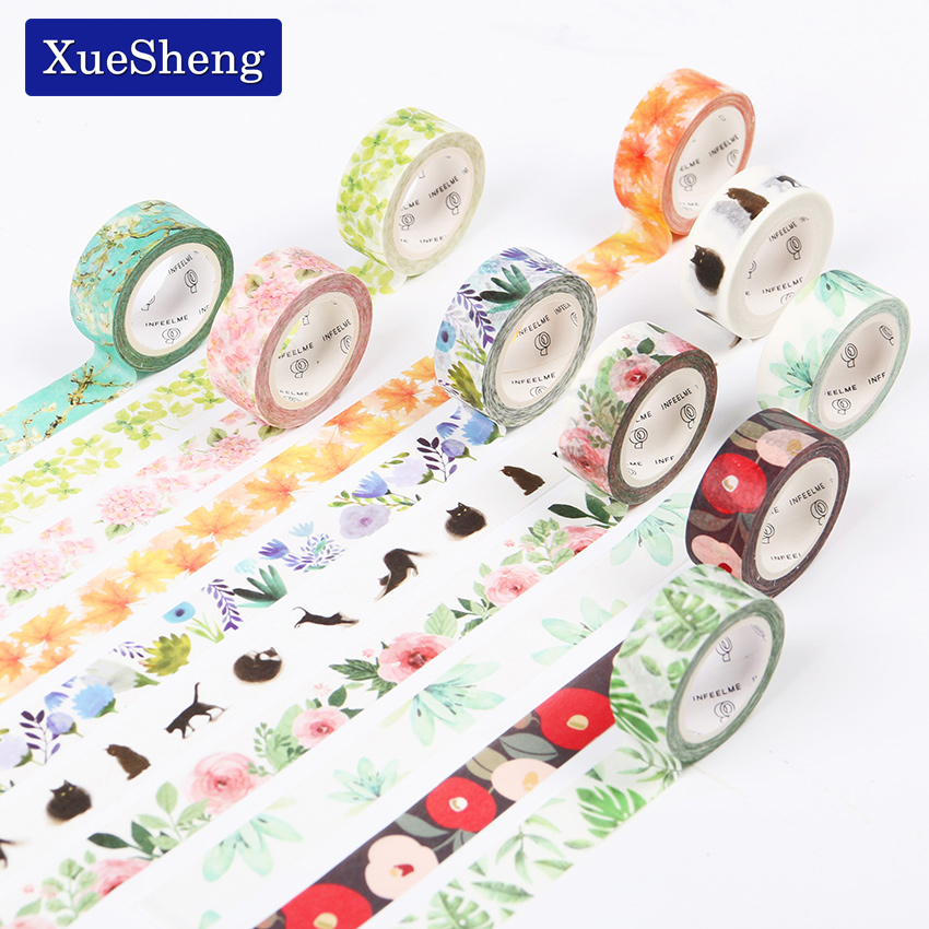 1.5CM Wide Luxuriant Flowers and Animals Washi Tape Adhesive Tape DIY Scrapbooking Sticker Label Masking Tape jh201 1 5cm wide luxuriant flowers