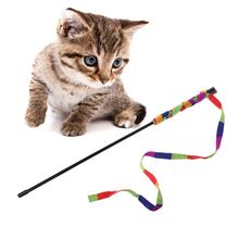 Rainbow Strap Pet Cat Teaser Scratcher Toy Funny Interactive Stick Toys