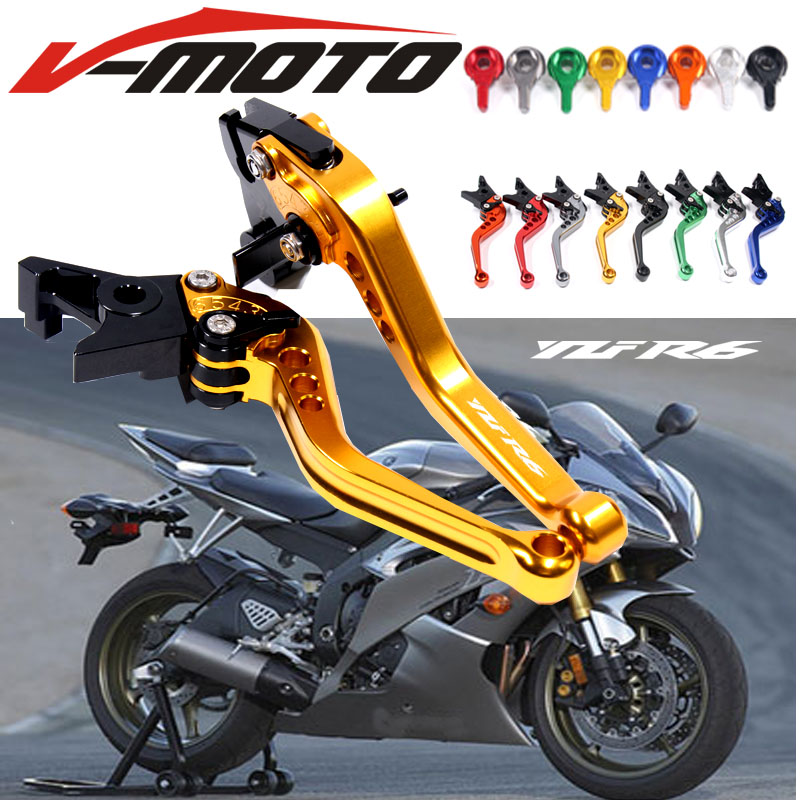 Logo(YZF R6) 8 Colors For Yamaha YZF R6 1999 2000 2001 2002 2003 2004 Blue CNC 2 finger Short Motorcycle Brake Clutch Levers hot sale motorcycle accessories cnc aluminum short brake clutch levers black for yamaha yzf r6 yzf r6 2006 2014