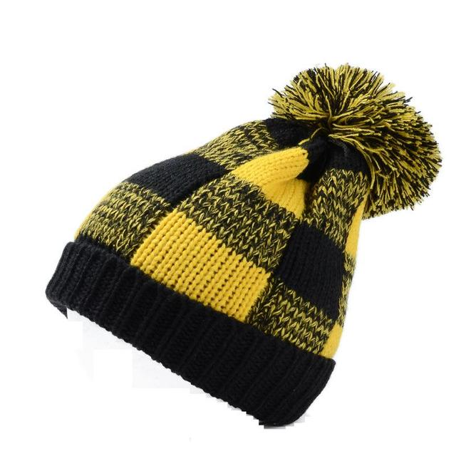 2017 New Fashion Winter Women Mens Yellow Red Blue Black Plaid Pom Knitted  Beanies Hats Free Shipping 309235dcf67
