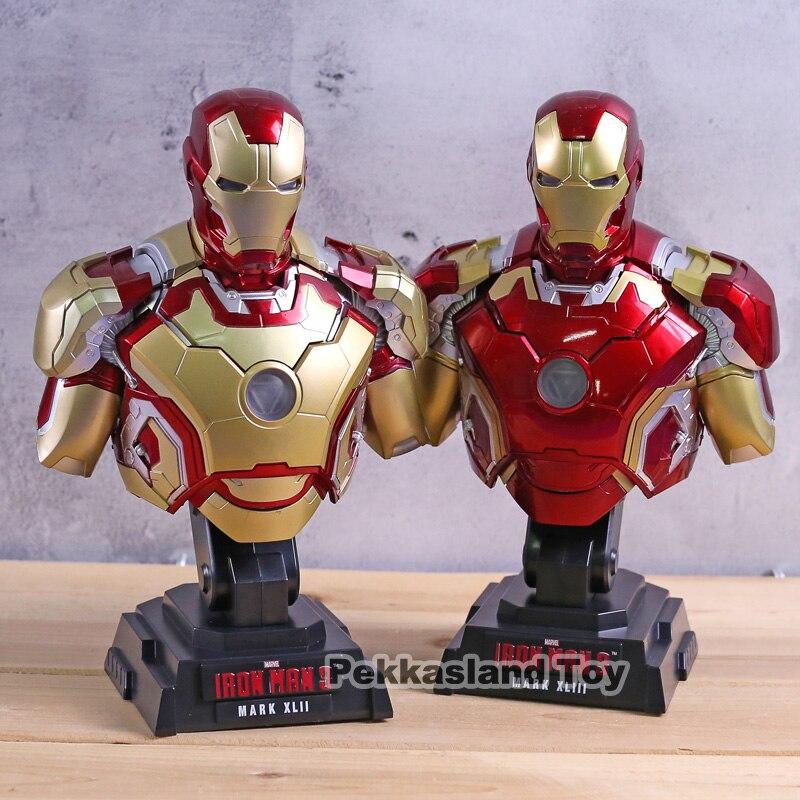Iron Man 3 MARK XLIII MK 43 / MARK XLII MK 42 1/4 Scale Bust PVC Figure Collectible Model Toy GiftIron Man 3 MARK XLIII MK 43 / MARK XLII MK 42 1/4 Scale Bust PVC Figure Collectible Model Toy Gift