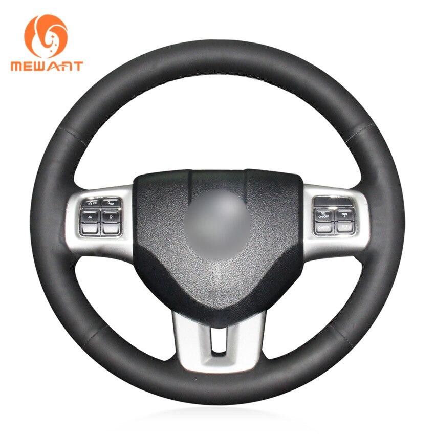 MEWANT Black Genuine Leather Comfortable Anti Slip Car Steering Wheel Cover for Dodge Grand Caravan Journey
