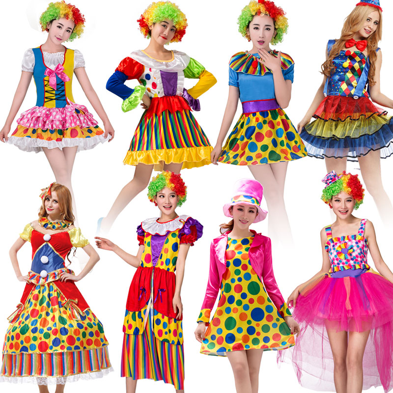 NoEnName Free shippingHoliday Variety Funny Clown Costumes Adult Woman Joker Costume Cosplay Party Dress Up Clown Suit Costume