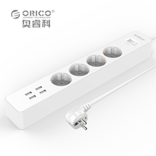 ORICO OSC-4A4U-EU Home Office EU Surge Protector With 4 USB Charger 4 Universal AC Plug Multi-Outlet Master Power Strips - White