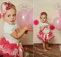 2016 Summer 2 Pcs Baby Girl Set Birthday Printed T Shirt + Tulle Ruffle Tutu Skirt Infant Toddler Outfits Faldas Jupe Saia