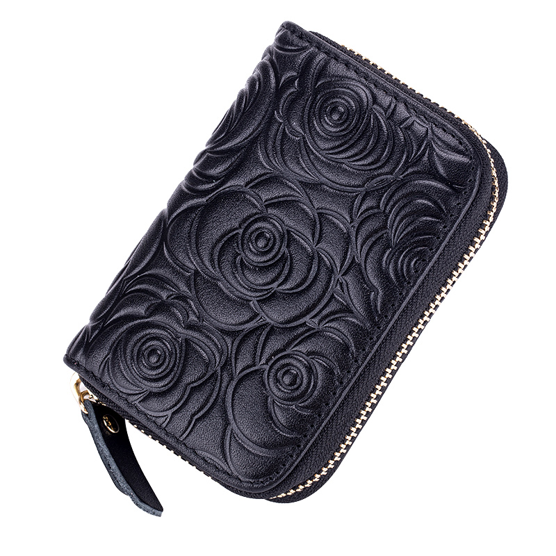 New Arrival Cowhide Leather Embossing RFID Card Wallets Guaranteed 2018 Brand Design Stylish Women Card Holders Factory Price
