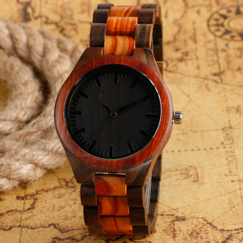 New Arrival Nature Wood Quartz Wrist Watch Elegant Bangle Band Strap Cool Black Round Dial Men Women Watches For Xmas simple brown bamboo full wooden adjustable band strap analog wrist watch bangle minimalist new arrival hot women men nature wood