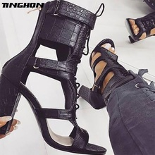 TINGHON Sexy PU Sandals Women Open Toe Sexy Lace Up Sandals High Heels Summer Ladies Cut Outs Thick Heel Pumps Shoes women gladiator sandals cross tied open toe high heels pumps cut outs serpentine lace up sandals party wedding sexy ladies shoes