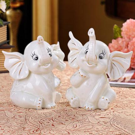 Handmade Creative White Ceramic Gilt Elephant Couple Ornaments Wedding Gift Porcelain Animal Statues Modern Home Decorations