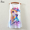 New Spring And Summer Women Tank Tops Fashion animal horse Printed White Top Regata Feminina Sleeveless Sexy For Ladies Tank Top