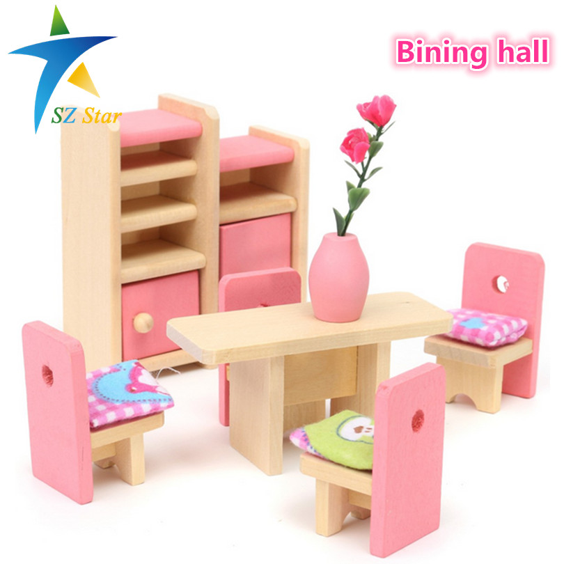 Free Shipping 2016 New Arriavl Wooden Delicate Dollhouse Furniture Toys Miniature For Kids