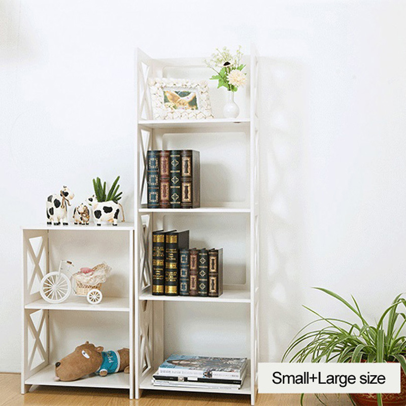 2pcs Set Living Room Furniture Wood Book Shelf Shoes Rack Home Organizer Small Size Large Size