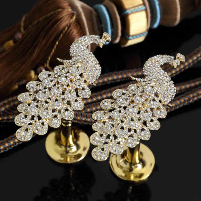 1 paire placage paon Diamante rideaux crochets Pothook mur Tieback gland serviette cintre tissu chapeau crochet rideau accessoires