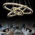 Современный DIY круглый светодиодный хрустальный светильник для гостиной  спальни  подвесной светильник из нержавеющей стали  подвесной све...