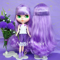 scalp with hair for Blyth, not doll, purple3 long hair,  with normal or dark skin, For Girl's Gift, TP039