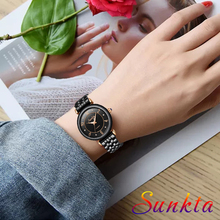 Zegarek Damski SUNKTA New Diamond Quartz Women Watches Waterproof Ladies Dress Bracelet Clock Top Brand Luxury Watch Women+Box