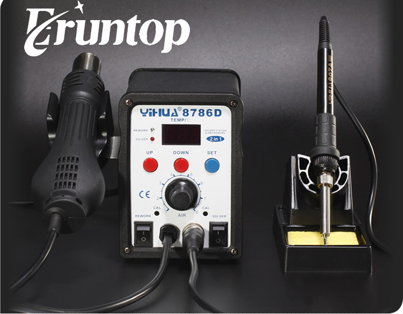 HOT YIHUA 8786D Digital Temperature Control 2 in 1 Rework Solder Station Hot Air Heat Gun and Soldering Iron yihua 862d 750w constant temperature antistatic soldering station solder iron heat air gun