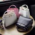 Trendy Womans Leather Like Litchi Grain Small Lock Handbag OL Elegant Mini Totes Cross-body Messenger Shoulder Bag