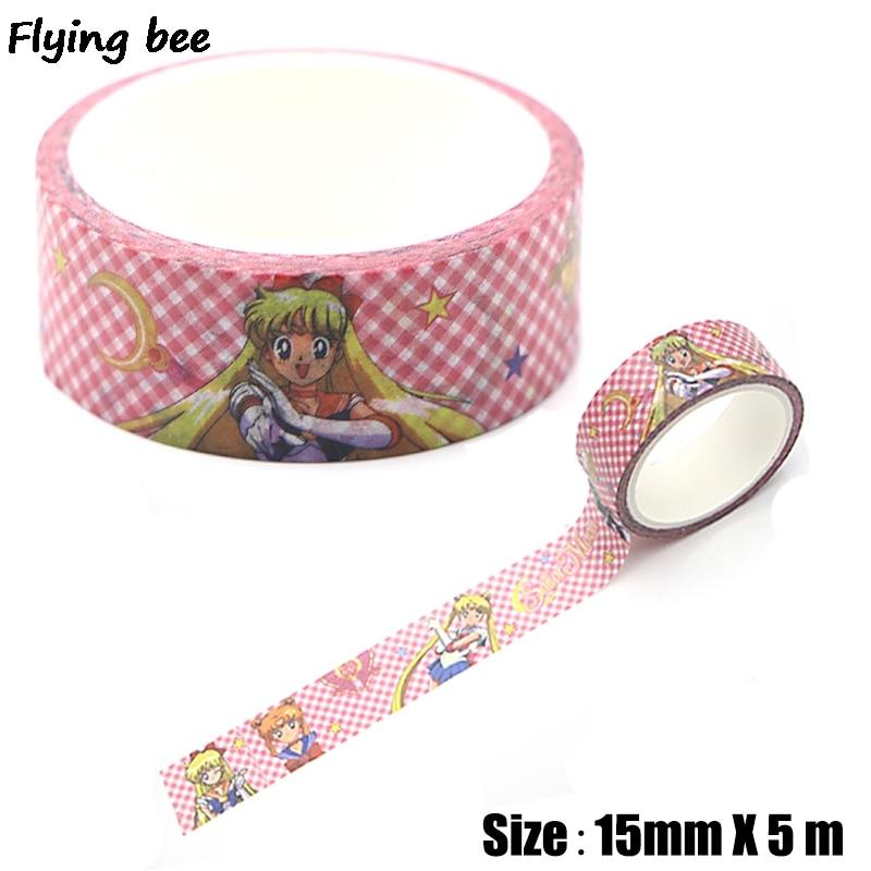 Flyingbee 15mmX5m  Cartoon Paper Washi Tape Fashion Adhesive Tape DIY Scrapbooking Sticker Label Masking Tape X0316