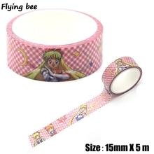 Flyingbee 15mmX5m Sailor Moon Cartoon Paper Washi Tape Fashion Adhesive DIY Scrapbooking Sticker Label Masking X0316
