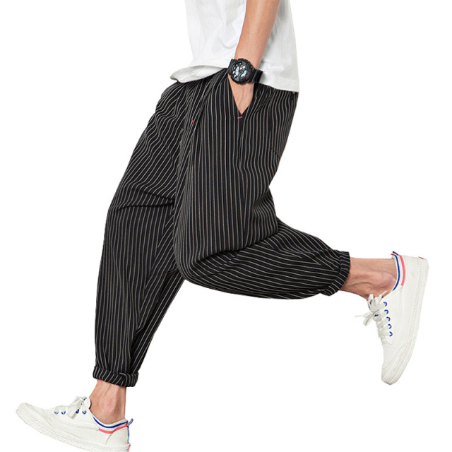 2017 Spring Summer Harem Pants Men Cotton Striped Loose Jogger Pants Men (Asian Size)