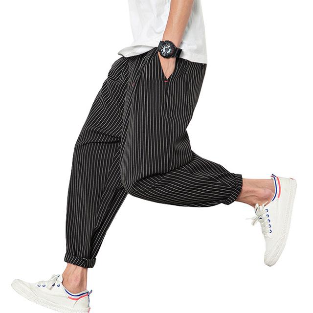 2017 de Primavera y Verano Harem Pantalones de Los Hombres de Algodón A Rayas Loose Pantalones Basculador de Los Hombres (Tamaño de Asia)