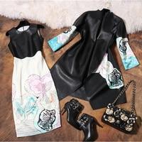 2016 New Spring Fashion Suit Jacket Pu Print Dress Dress Suit Female Socialite Tide