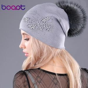 Image 3 - [Boapt] sombreros de piel de mapache natural perla cachemir tejido mullido Gorro con pompones para mujeres gorras de invierno casual mujer skullies beanies