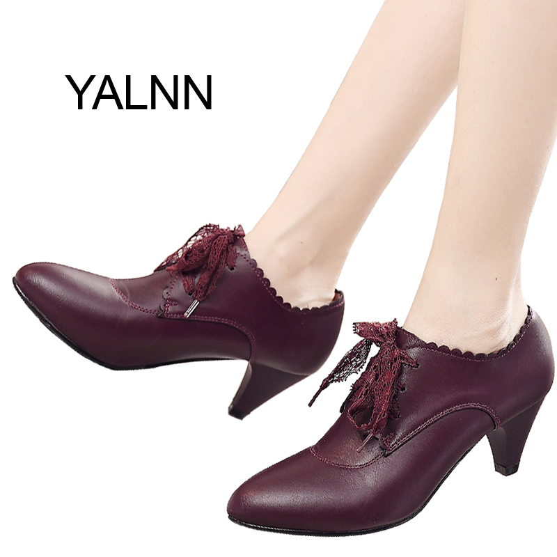 YALNN New Women Leather High heel Shoes for Women Winter Office Lady Mature High Heels Shoes fur Pumps for Girls