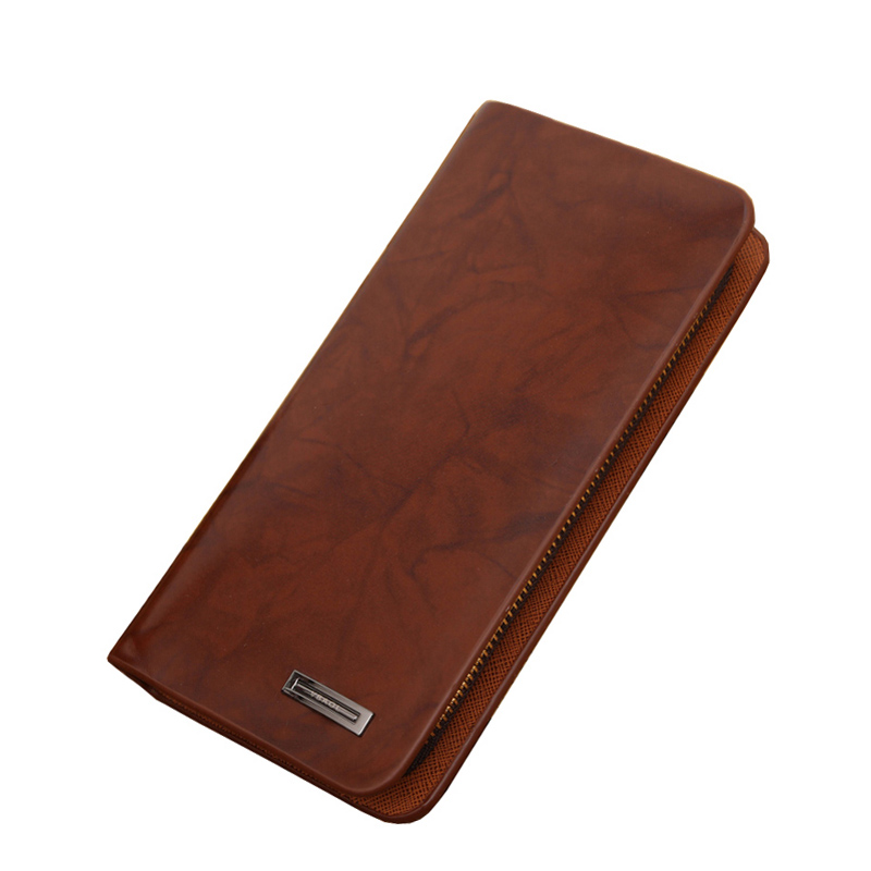 Purse Wallet Card-Holder Long-Style Quality Fashion Men Zipper Casual Brown Large-Capacity
