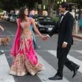 Chic dos piezas de la boda India vestidos Appliqued A-Line con cuentas vestidos de novia palabra de longitud vestido de boda con Wrap India nupcial