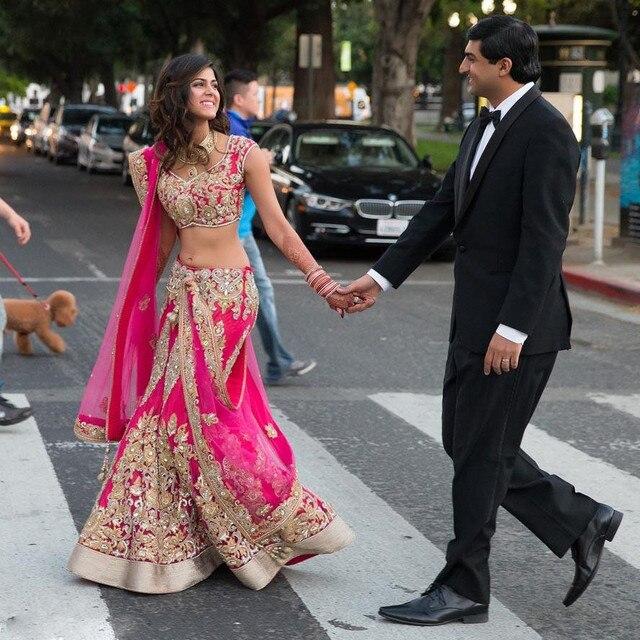 Chic zwei Stücke indische hochzeit kleider appliqued a linie perlen ...