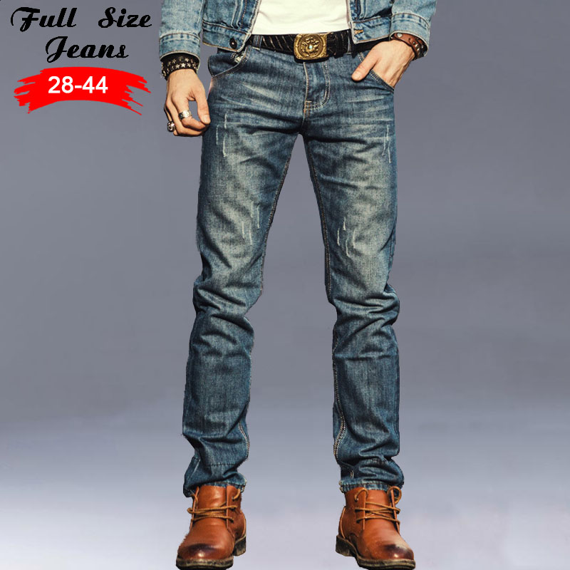 ФОТО 2017 New Designer Vintage Retro Mens 4xl 5xl 32 34 36 38 Plus Size Ripped skinny Jeans Casual Slim Fit Denim Pencil Pants