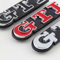 GTI Letters Metal Car Styling Refitting Emblem Badge 3D Sticker Front Grille Emblem Badge For VW
