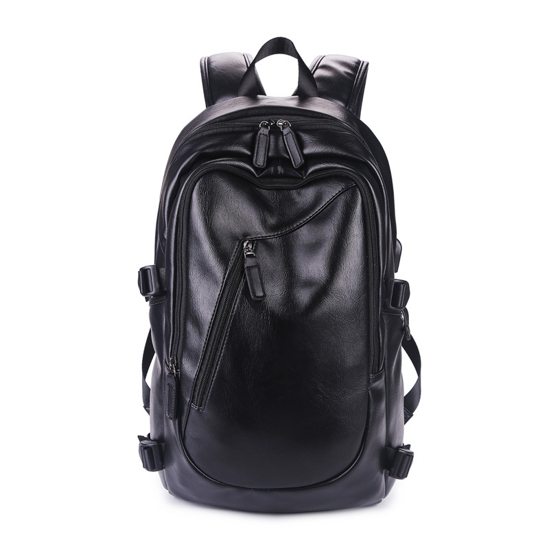 Casual PU Leather Backpack Men School Bag Waterproof Laptop Backpacks for Teenagers Simple Design Daypacks Mochila Male
