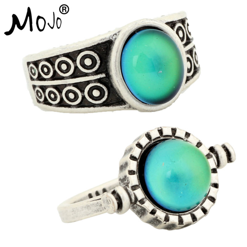 2PCS Antique Silver Plated Color Changing Mood Rings Changing Color Temperature Emotion Feeling Rings Set For Women/Men 007-035