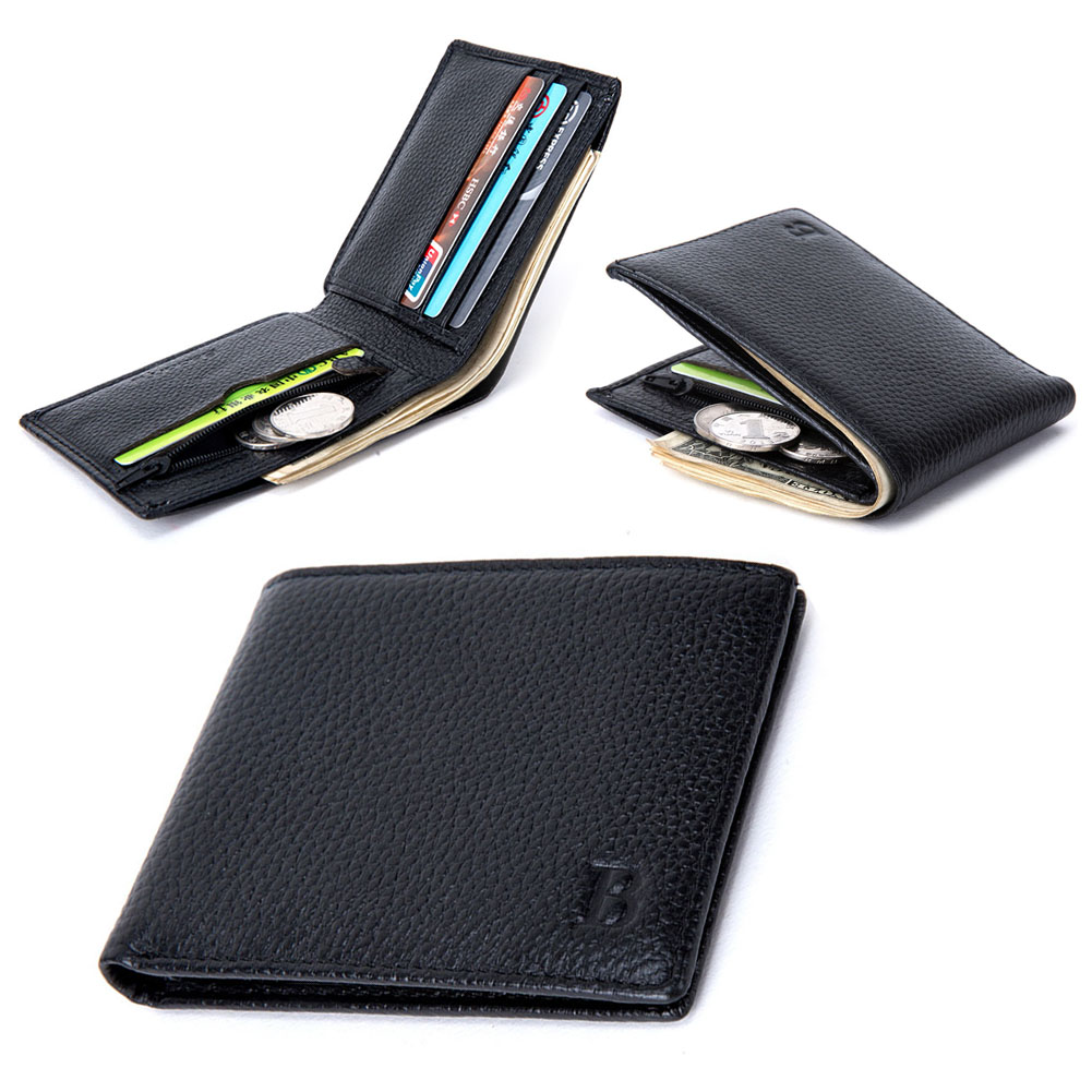 Thin Purse Wallet With Genuine-Leather Cards-Holder Coin-Pocket Fashion Men New-Arrival