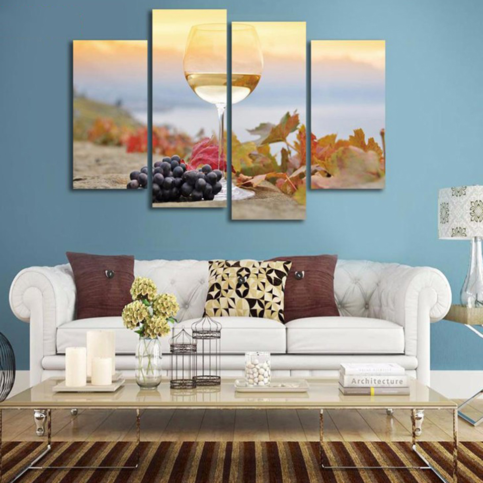 Canvas Painting HD Wall Home Decoration Frameless 4 Panel Sunrise Beach Wine For Living Room Modular New Year Gift Wall Art