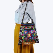 Free shipping Vintage Hmong Tribal Ethnic Thai Boho shoulder messenger cross body bag linen handmade embroidery Tapestry 1009A