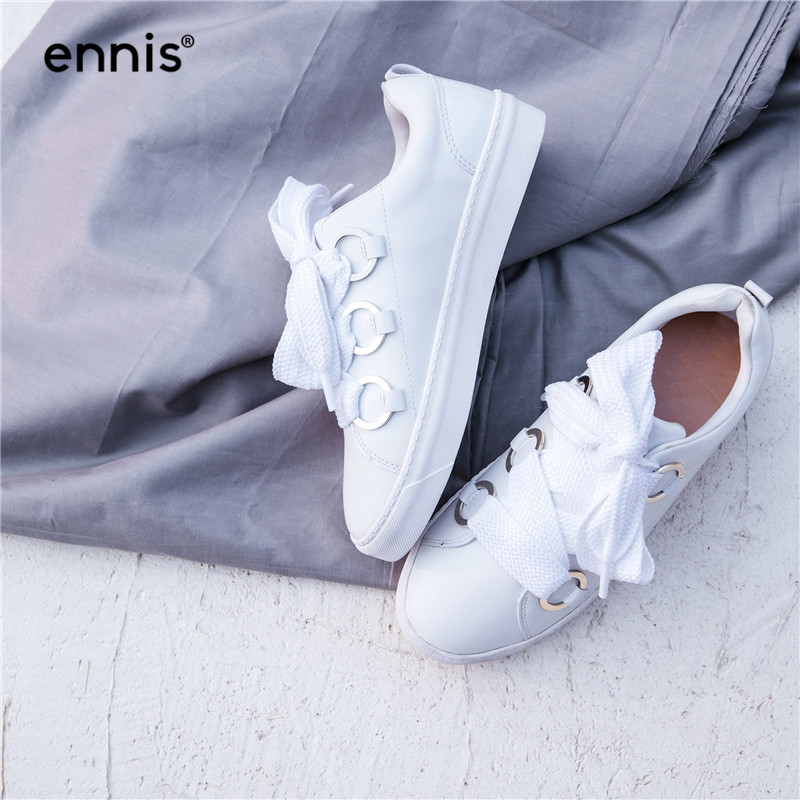 ENNIS 2019 Genuine Leather White Casual Shoes Women Hot Sale Lace Up Fashion Moccasins All Match